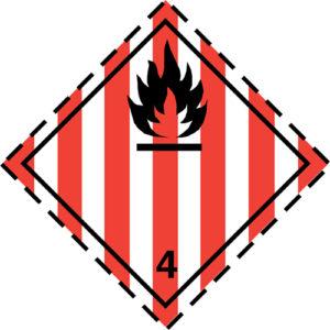 Etiqueta ADR Clase 4.1 Materias sólidas inflamables, materias autorreactivas y materias sólidas explosivas desensibilizadas