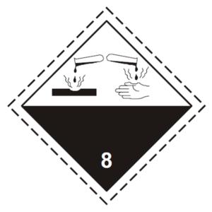 placa adr peligro clase 8