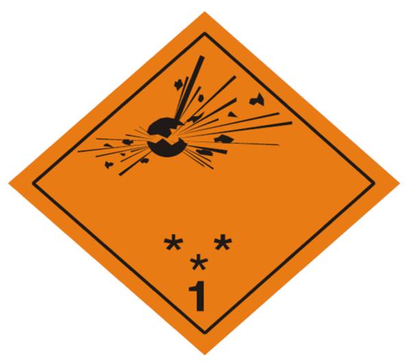 placa adr peligro clase 1