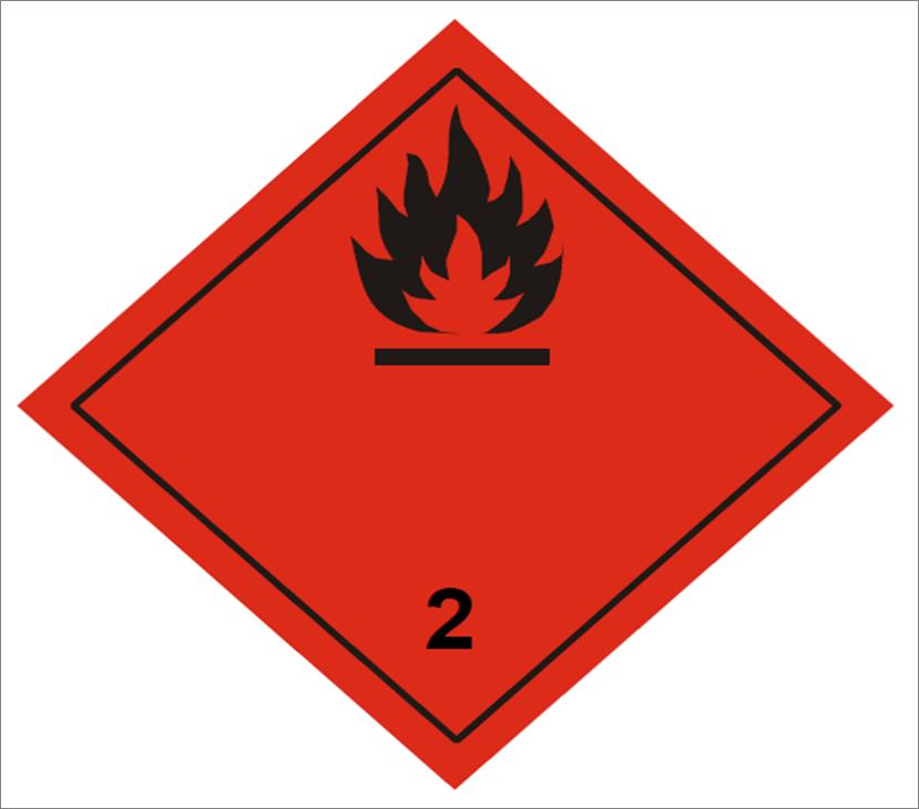 placa adr peligro clase 2.1