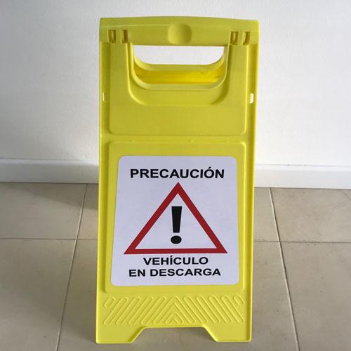 Panel de advertencia Vehículo en descarga fabricado en