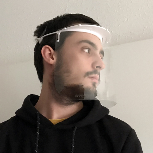 Mascara facial integral con pantalla PET