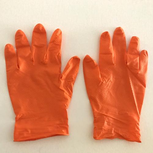 guantes de nitrilo naranja gruesos