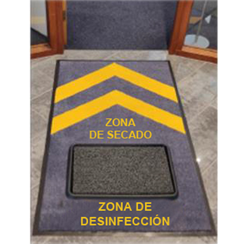 Alfombra desinfectante con estación de limpieza
